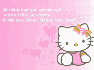 Ucapan Tahun Hello Kitty Pink  Happy New Year