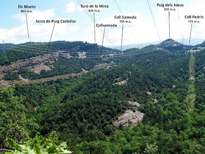 Panoràmica dels turons de llevant des d'una torre de la M.A.T. al Serrat del Pi