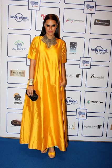 Neha Dhupia Looks Hot In Yellow Dress At Lonely Planet India Awards 2015 At J W Marriott in Mumbai