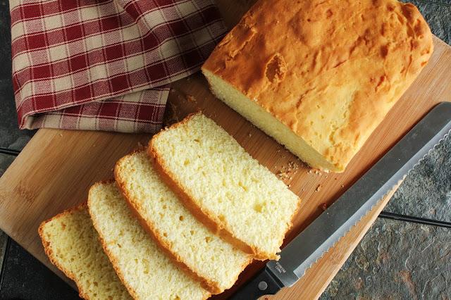 gluten-free white rice flour yeast bread, sliced loaf
