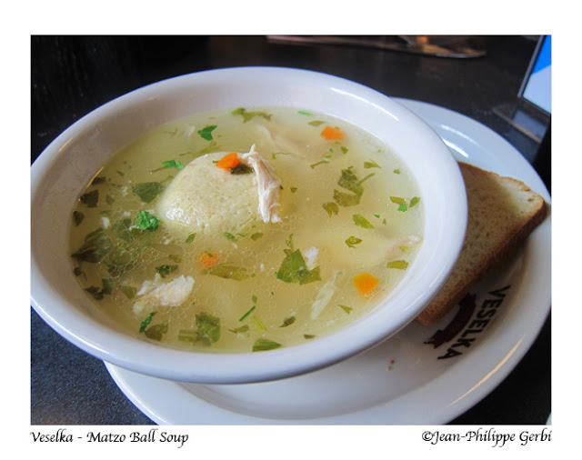 Image of Matzo Ball soup at Veselka in the East Village NYC, New York