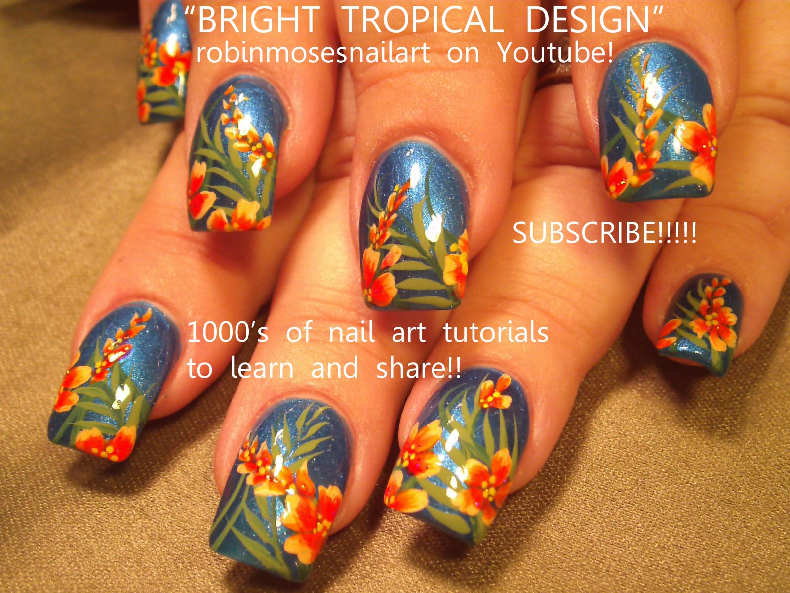blue hawaii tropical flower nails by robin …