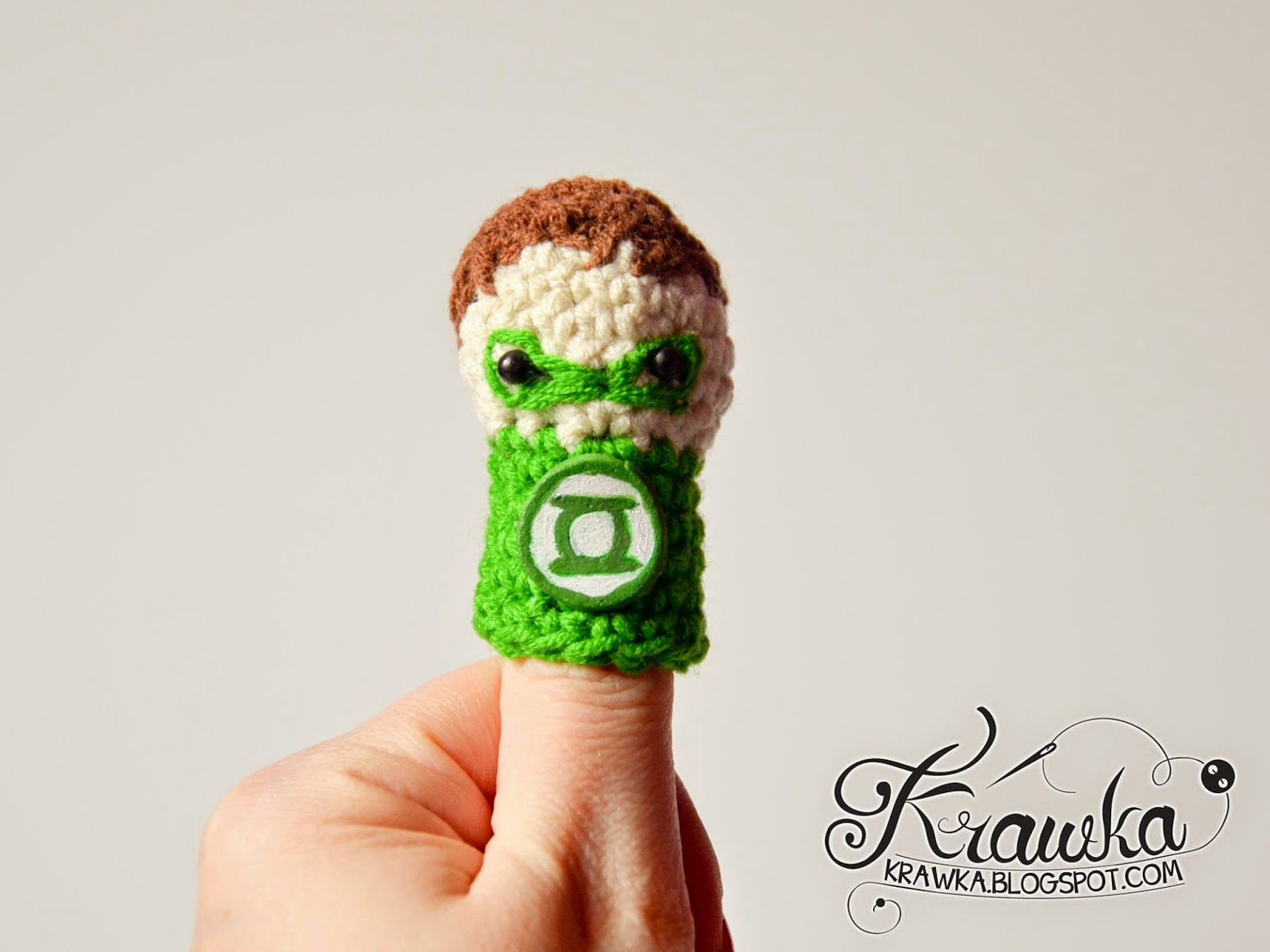 Krawka: Cute set of crochet finger puppets with FREE patterns. Justice League :  Green lantern