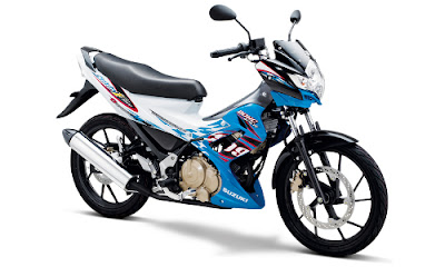 Warna Satria FU Candy Marine Blue - Brilliant White