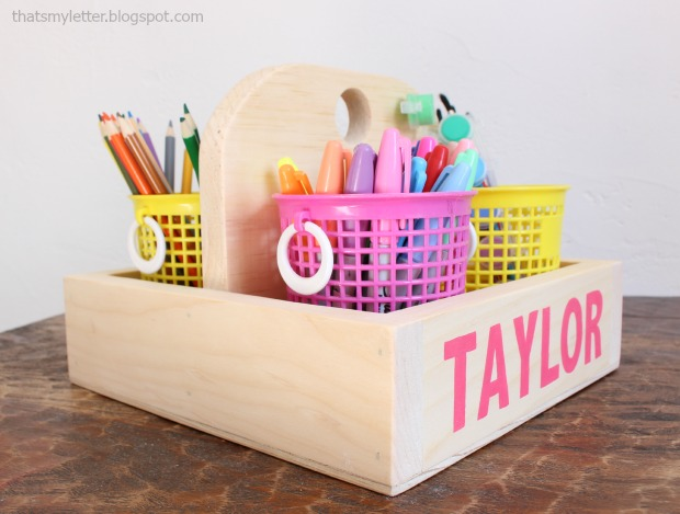 diy wood caddy kids art supplies