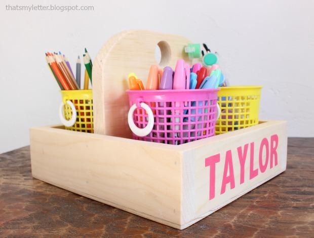 diy wood caddy kids art supplies