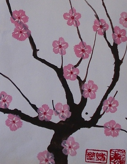 My Grade 7 class recently finished these cherry blossom paintings as part  of our