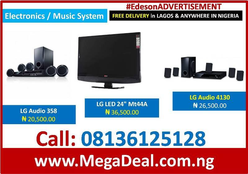 """Buy LG Audio 358₦ 20,500, LG Audio 4130₦ 26,500, LG LED 24"""" Mt44A₦ 36,500"""