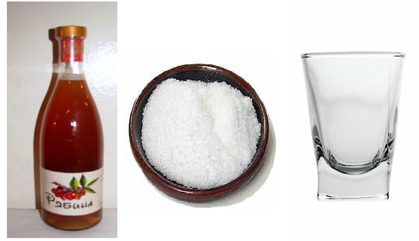 Рябиновый сок, сахар, рюмка