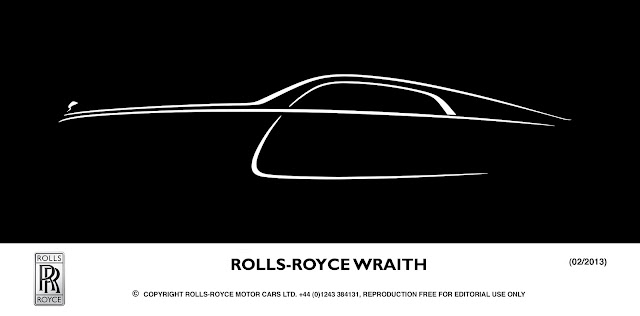 White line drawing on black background of the silhouette of the new Rolls-Royce Wraith.