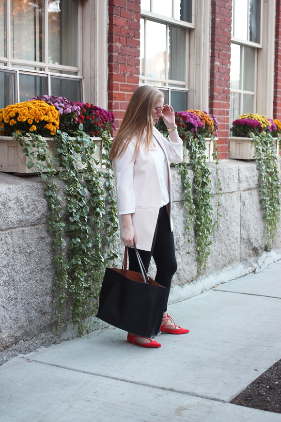 topshop lace up pointed toe flat, topshop long line vest, boston street style, boston fashion blog