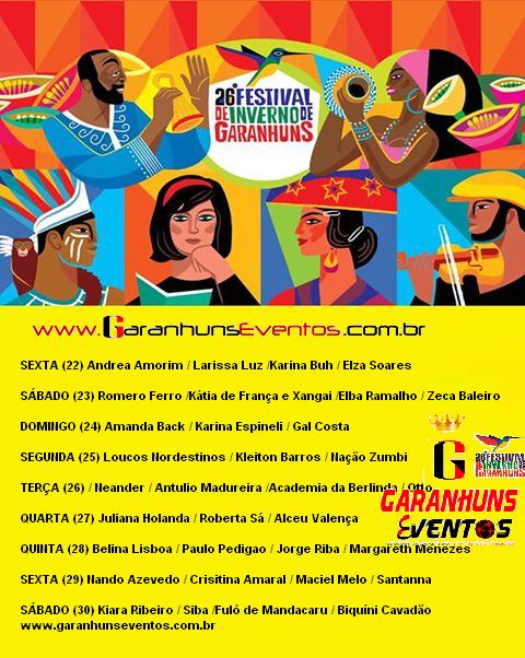 PROGRAMAÇÃO DO 26° FESTIVAL DE INVERNO DE GARANHUNS