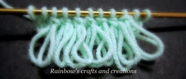 Rainbows Crafts and Creations: How to Knit the Double-Loop Stitch