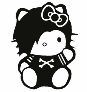 Hello kitty emo en blanco y negro