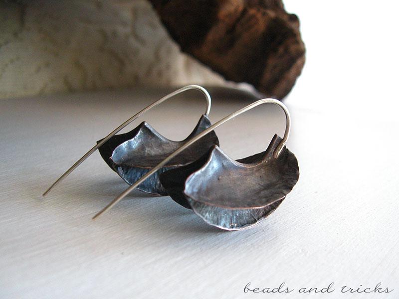 Orecchini lavorati a foldforming, rame e argento 925