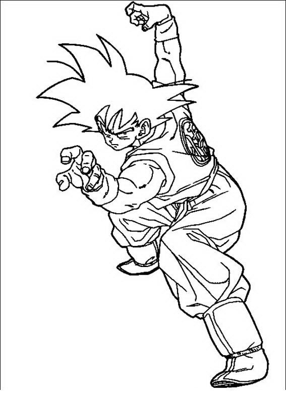 COLOREA TUS DIBUJOS: Goku peleando para colorear