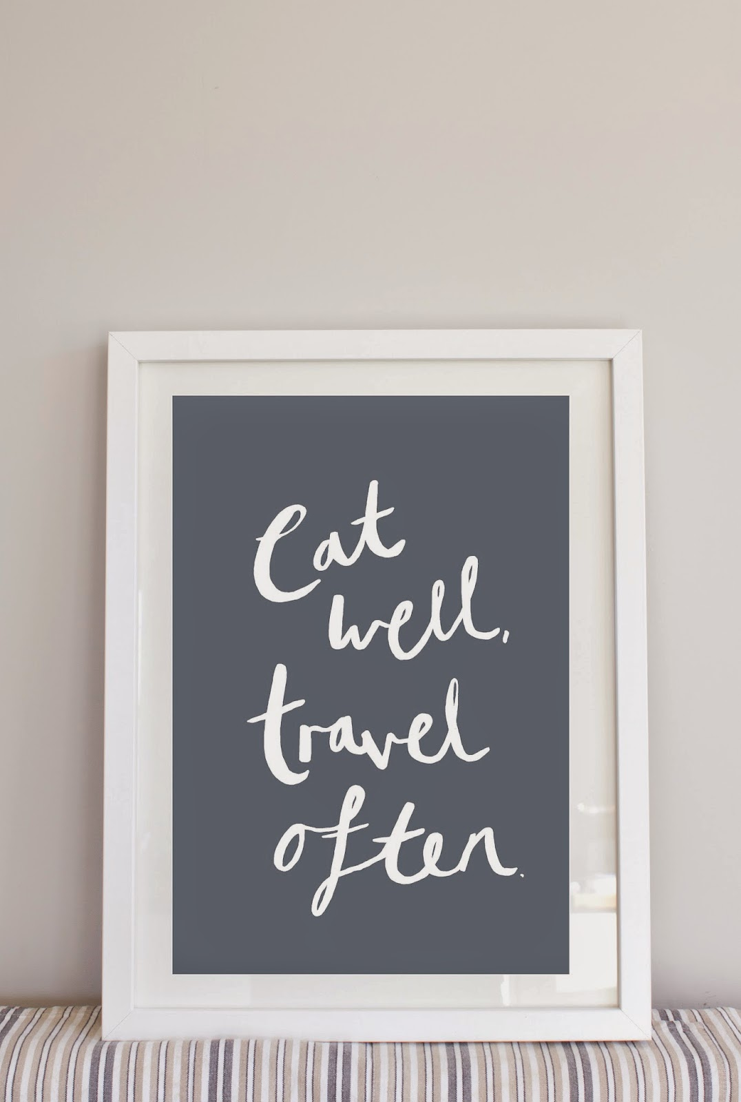 eat well travel often LH Design lola hoad design handmade typographic A4 print