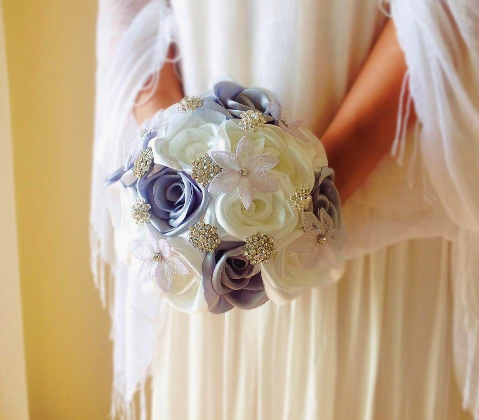 Fabric bouquets bridal flowers