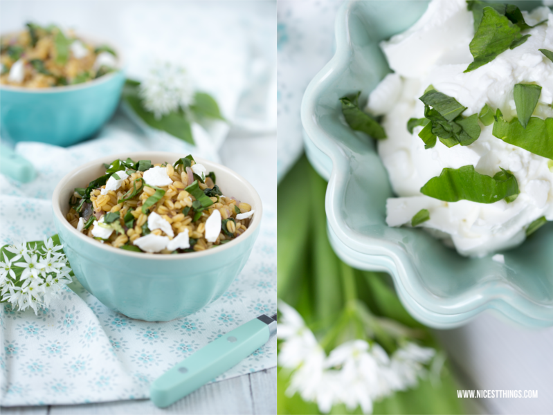 recipe for ramson / wild garlic risotto with goat cheese