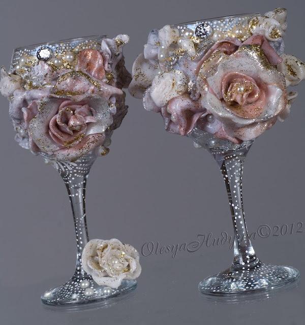 Весільні келихи, декоровані Олесею Гудимою, Україна