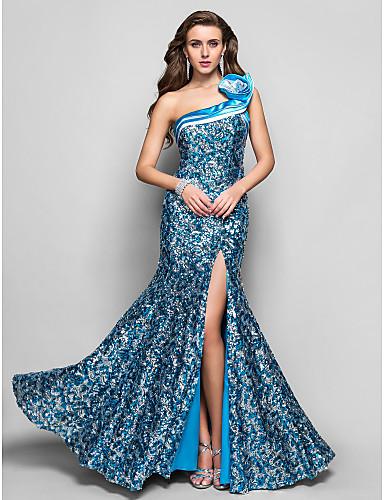Vestido de Fiesta Azul Corte Sirena
