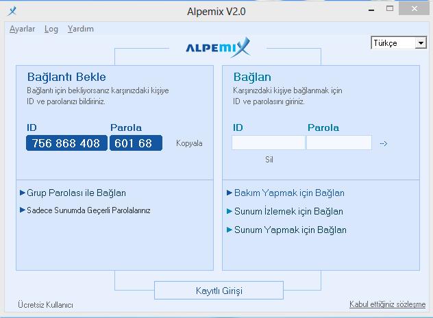 Alpemix Uzak Masaüstü Bağlantı Programı
