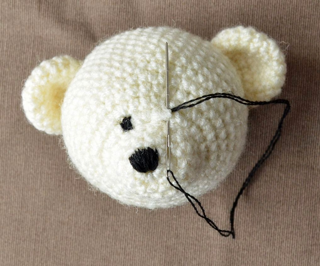 Insert The Needle In Its Bottom And Through The Hole Of Magic Ring  (bottom Of The Nose) Then Follow The Pictures To Embroider Bear's Mouth  With