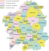 MAPAS: Comarcas de GALICIA y provincias de ESPAÑA (comarcas galicia)
