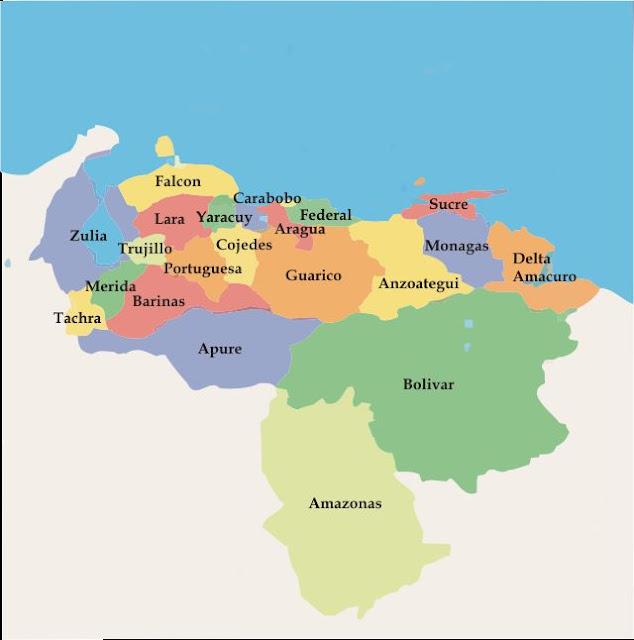 mapa de venezuela por estados