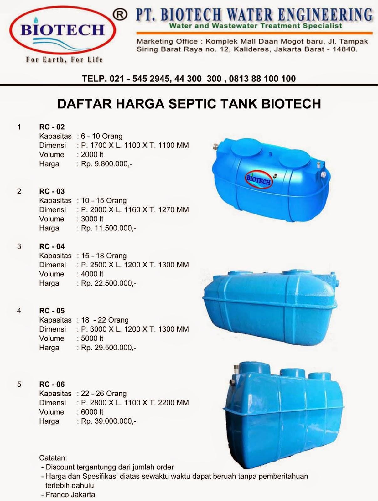 daftar harga septic tank biotech, price list, biofil, biofive, biogift, toilet portable fibreglass