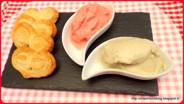 gelato di frutta (senza gelatiera) con ventaglietti di pasta sfoglia (dessert) menu frank sinatra