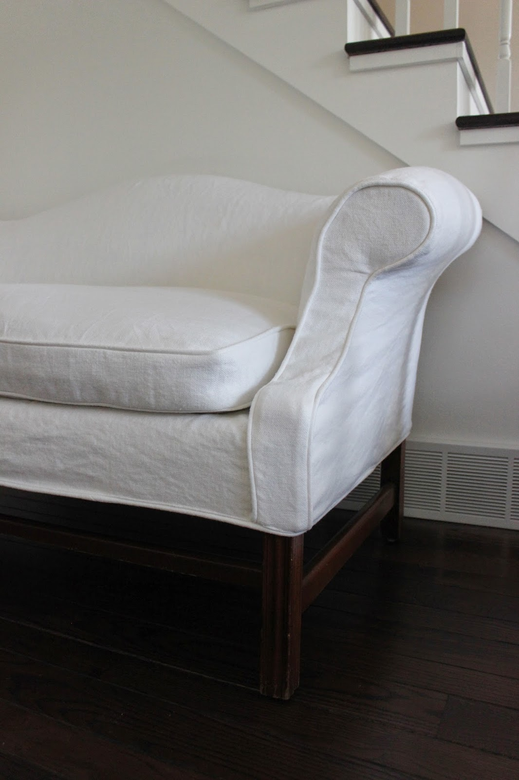 Custom slipcovers by shelley heavyweight white linen slipcovers White loveseat slipcovers