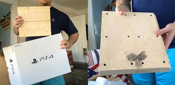 Dentro da caixa, foi encontrado uma madeira e um pênis desenhado