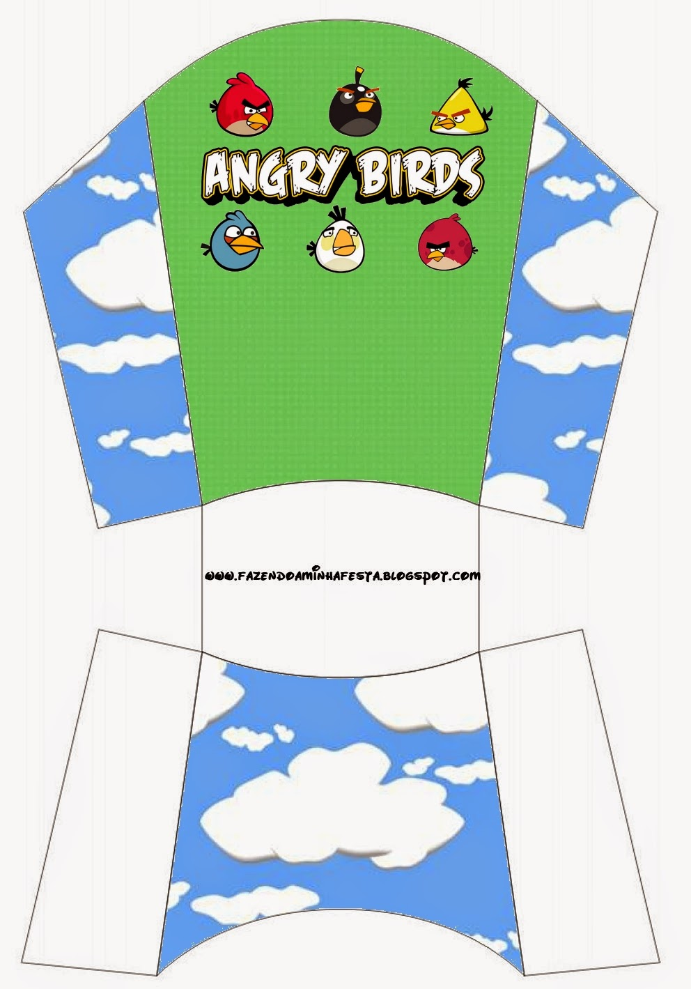 Free Printable Fries Box of  Angry Birds with Clouds.
