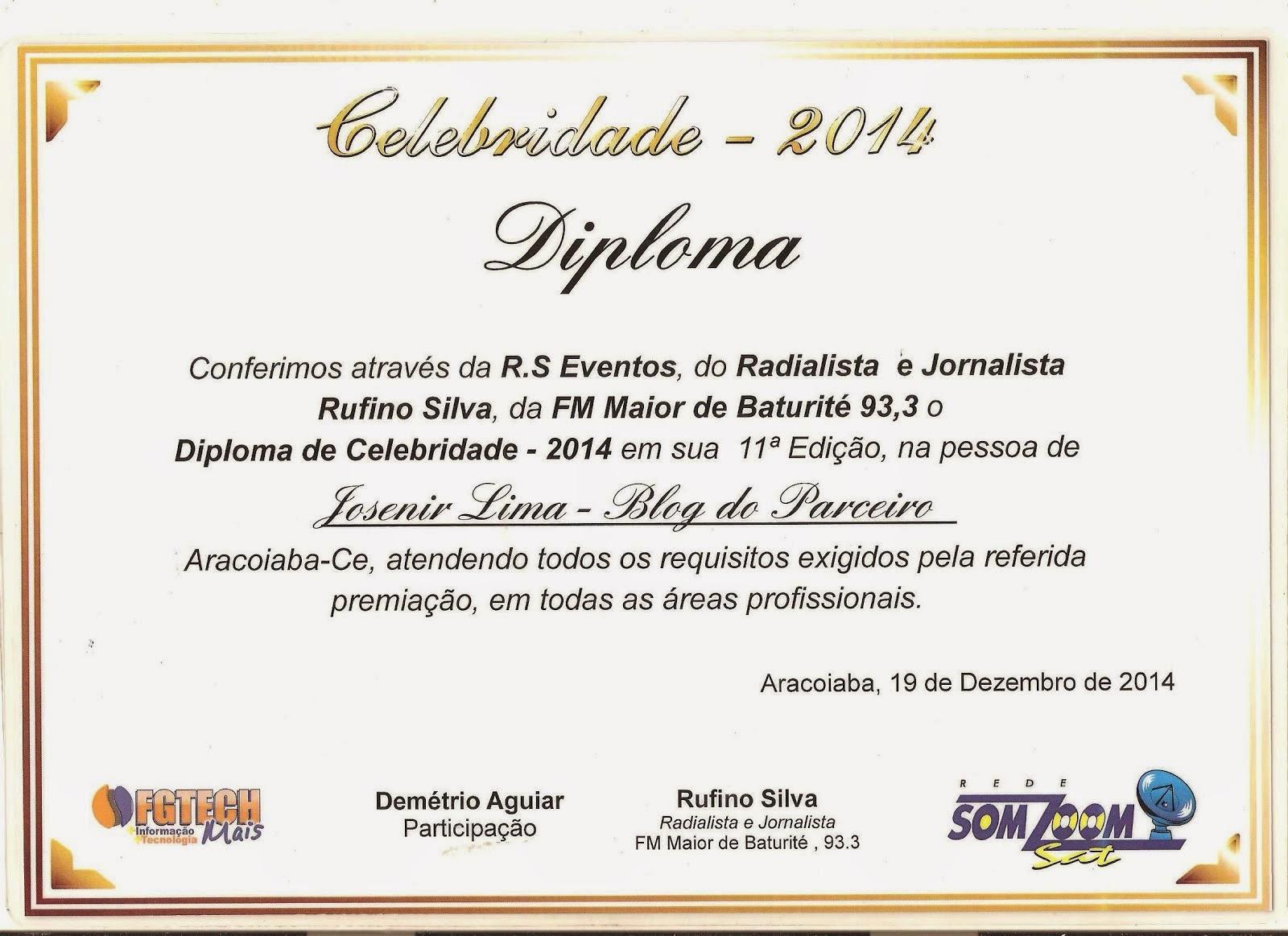 Prêmio Celebridade 2014 - BLOG DO PARCEIRO