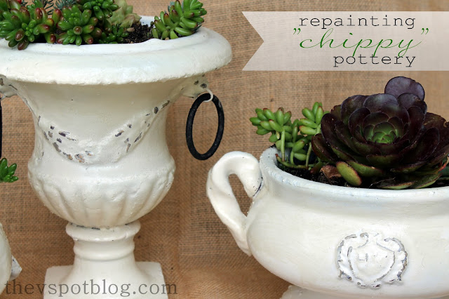 How to DIY shabby chic chippy pottery using spray paint and Vaseline.