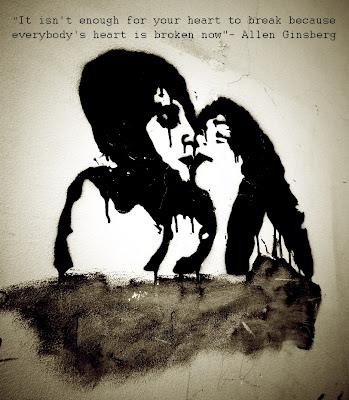 Allen Ginsberg, Lisbon, graffiti, street art, quote, black and white, broken heart