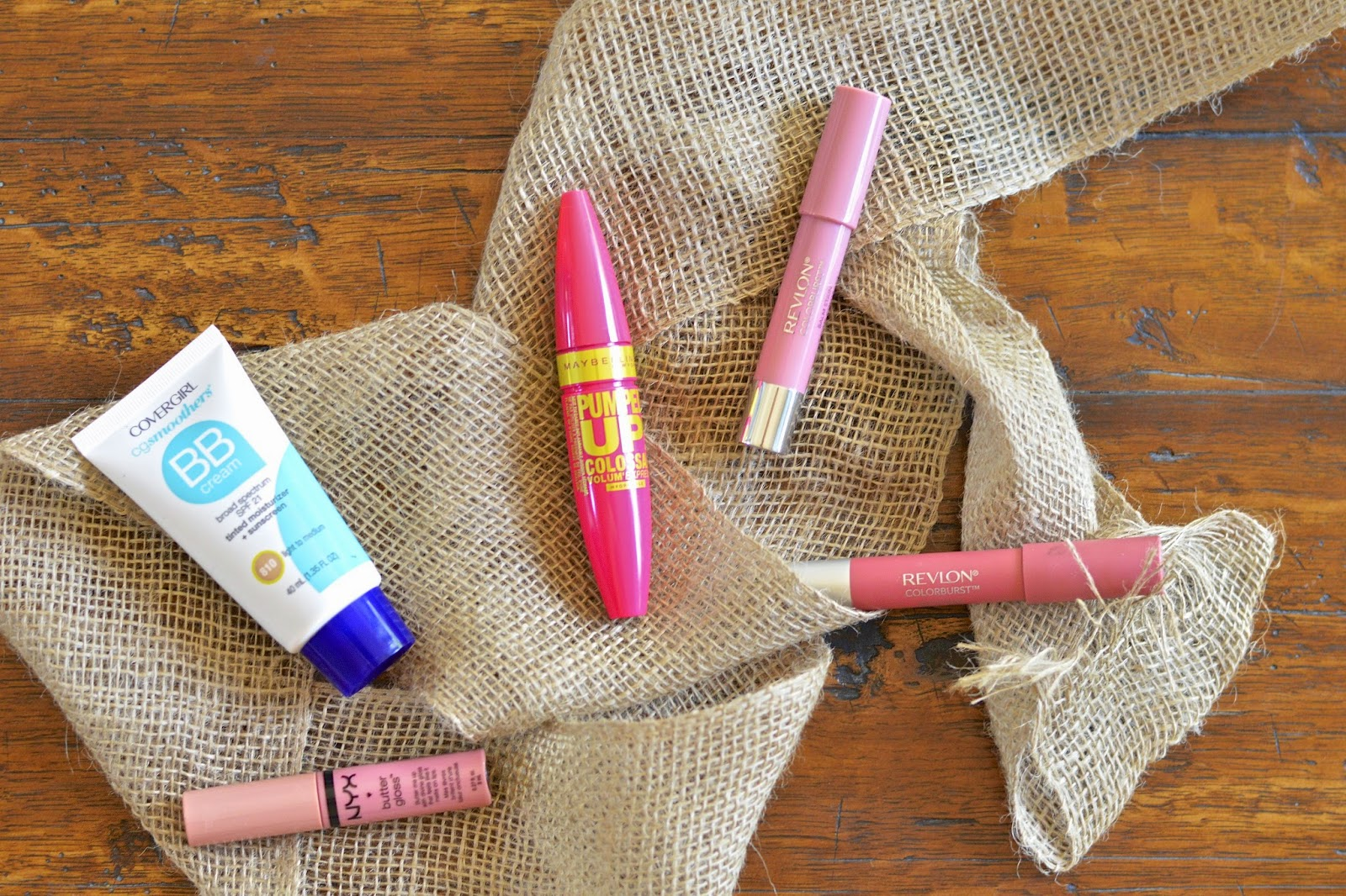 Covergirl CG Smoothers BB Cream, Volum' Express Pumped Up! Colossal Mascara, NYX Butter Gloss, Revlon Colorburst Balm Stain, Revlon Colorburst Matte Balm