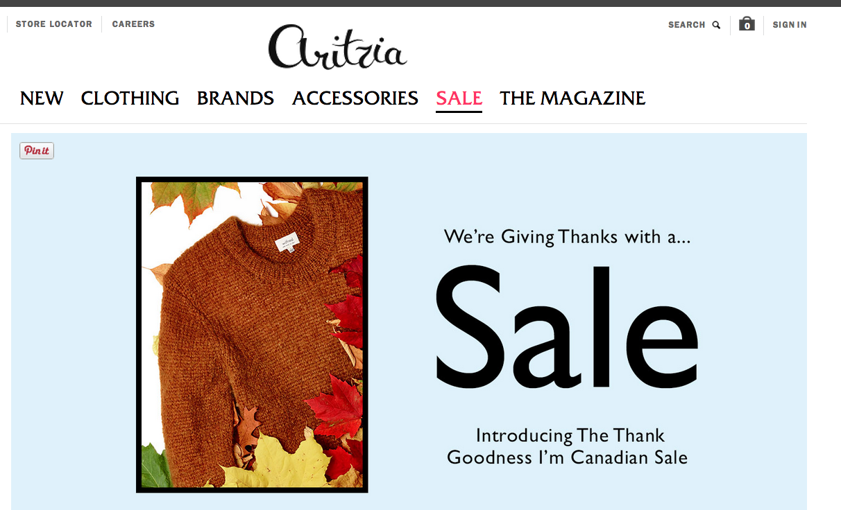 aritzia thanksgiving sale 2018