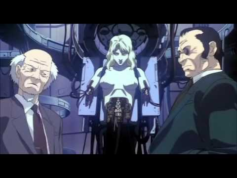 Two men and partial female cyborg in Ghost in the Shell 1995 animatedfilmreviews.blogspot.com