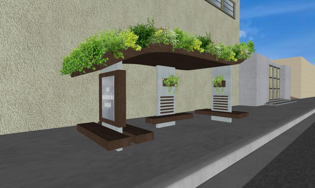 3 parabuses ecologicos con jardines en la azotea y
