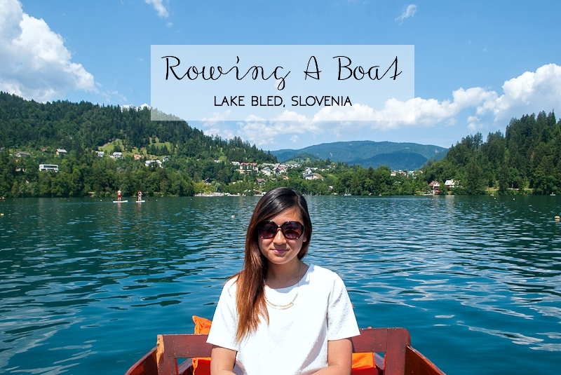 Rowing a boat on lake bled slovenia