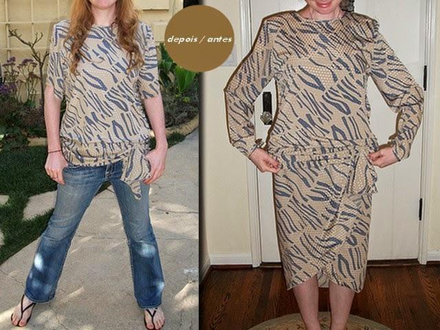 Inspiração: vestido vira blusa na customização feita por uma criativa de moda e estilo.