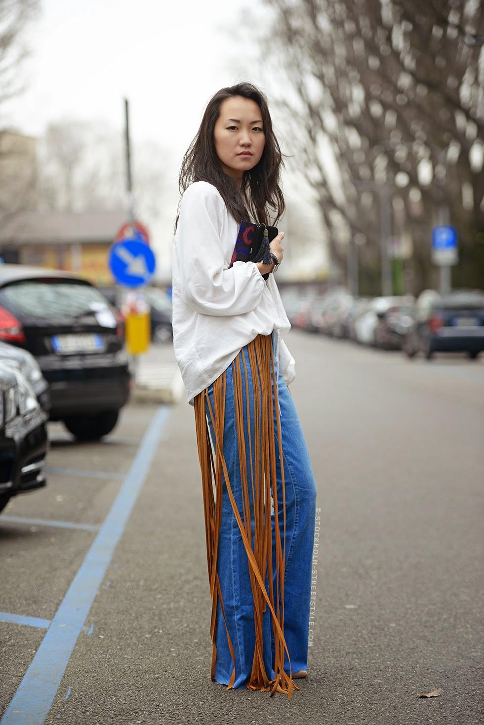 Pantalones de campana con flecos street style 2015