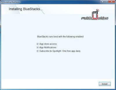 Quá trình cài đặt ứng dụng BLue Stacks