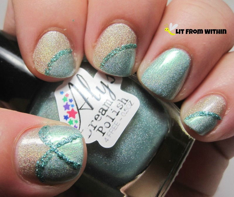 Aly's Dream Polish I Dream In Aquamarine, and a glitter striper.