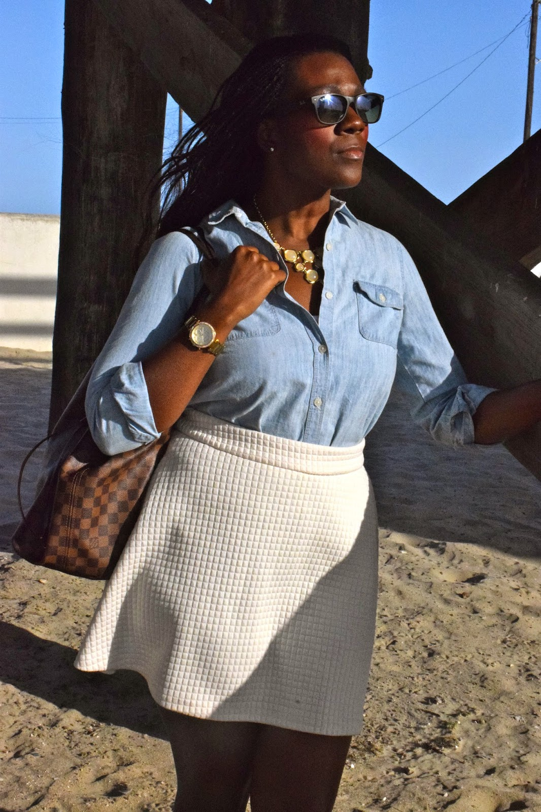 White Skirt Chambray Shirt Styling