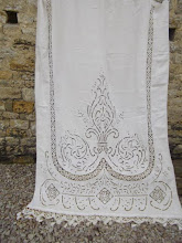 BEAUTIFUL Lge ANTIQUE FRENCH HANDWORKED RICHELIEU LACE CURTAIN or BLIND c1930