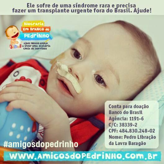 Ajude o Pedrinho a continuar sorrindo #amigosdopedrinho
