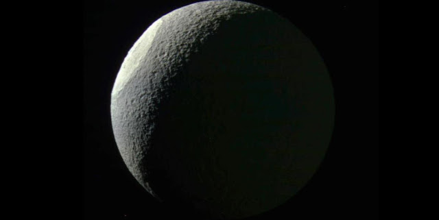 Saturn's moon Tethys seen by Cassini spacecraft. Credit: NASA/JPL-Caltech/Space Science Institute